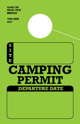 In Stock Camping Permit Hang Tag - Green