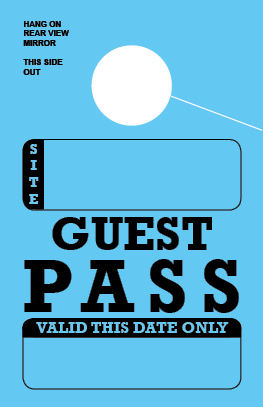 In Stock Guest Pass Hang Tag - Blue