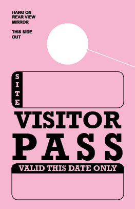 In Stock Visitor Pass Hang Tag - Pink