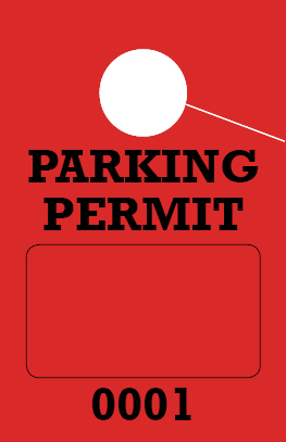 Consecutively Numbered 1 Sided Parking Permit Hang Tag - Red