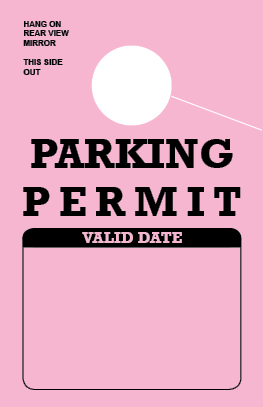 Parking Permit Hang Tag - Pink